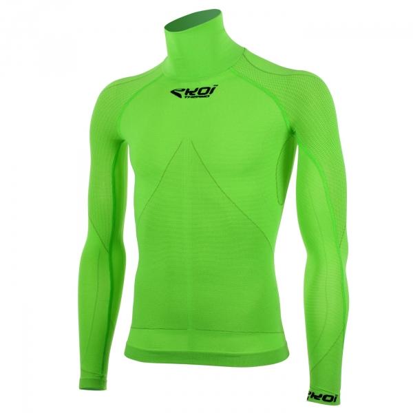EKOI TECH 3 LS green fluo polo neck base layer