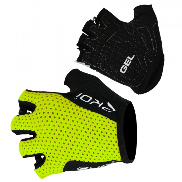 EKOI COMP10 fluo yellow gel short-fingered cycling gloves