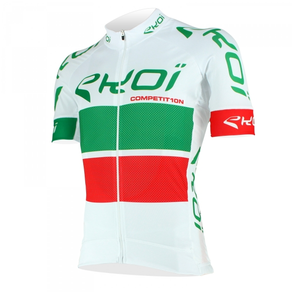 EKOI COMP10 White, Green & Red short sleeve jersey