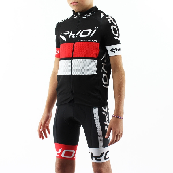 EKOI COMP10 Black Red White child's jersey & bib short bundle