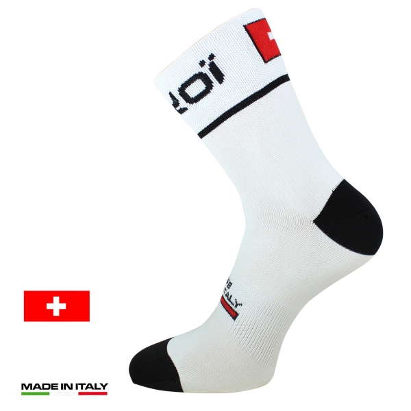 EKOI NATION White Switzerland summer cycling socks