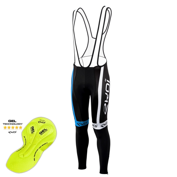 EKOI COMP10 Black / Blue bib tights with GEL pad