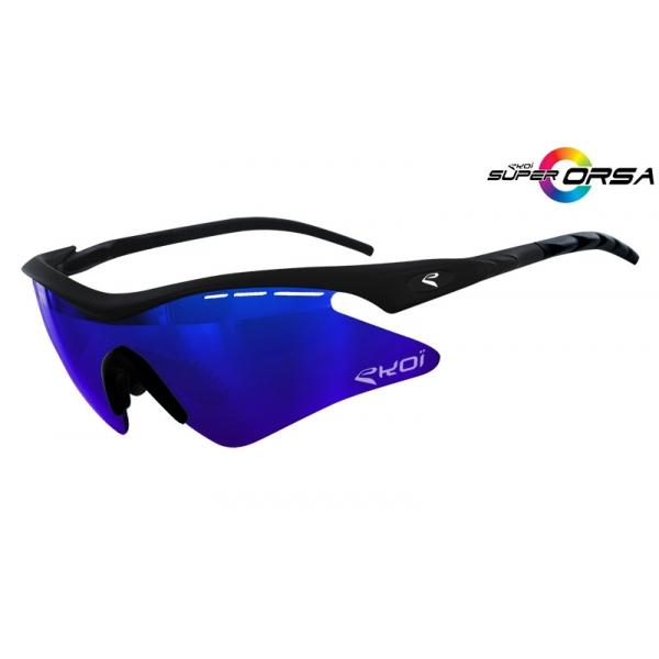 Niebiesko-czarne matowe okulary Super Corsa EKOI LTD z niebieskimi szkłami Revo