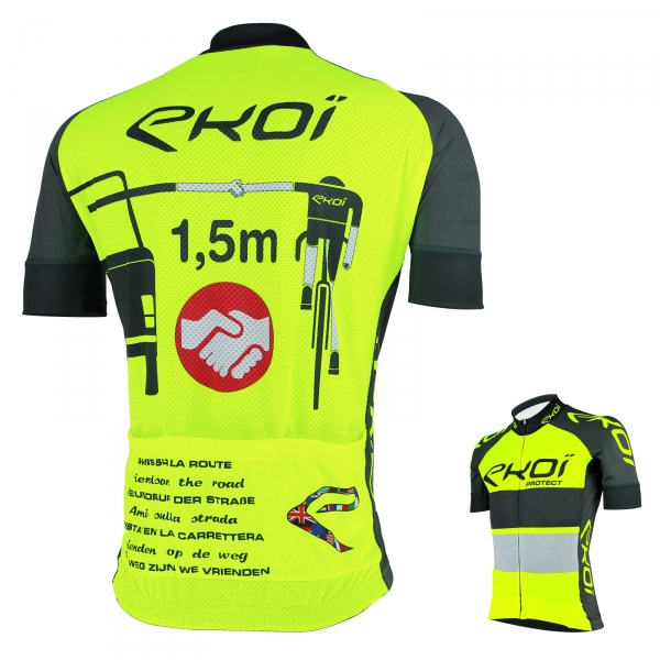 EKOI PROTECT Yellow fluo / Grey short sleeve jersey