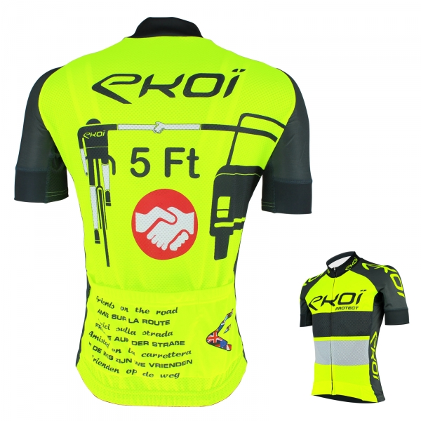 EKOI PROTECT UK minimum overtaking distance yellow fluo / Slate grey short sleeve jersey