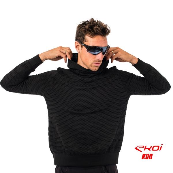 Sweter z kapturem EKOI RUN Czerwono-Czarny