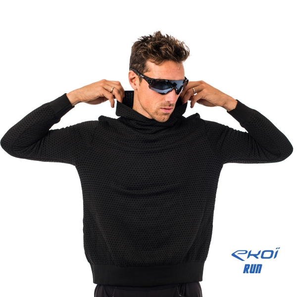 Sweter z kapturem EKOI RUN Niebiesko-Czarny