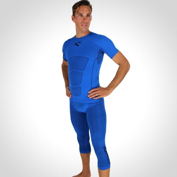 EKOI RUN Blue short sleeve top and EKOI RUN Blue 3/4 length tight bundle