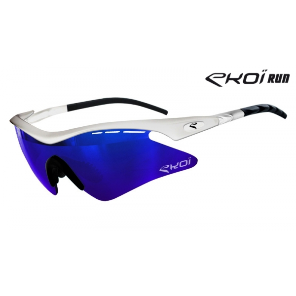 EKOI RUN White lightweight glasses with Revo Blue lens