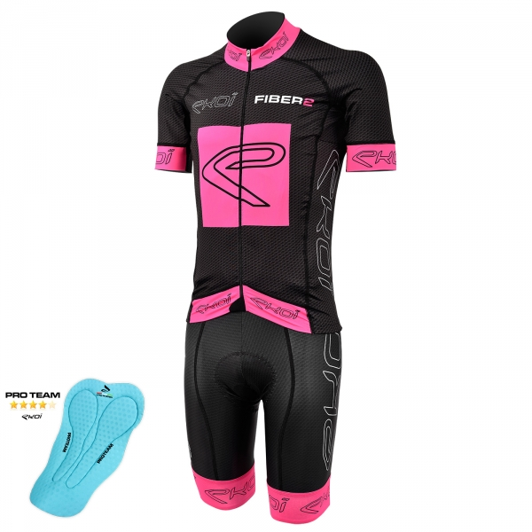 EKOI Carbon Fiber 2 pink fluo short sleeve jersey and bib short with Proteam pad bundle