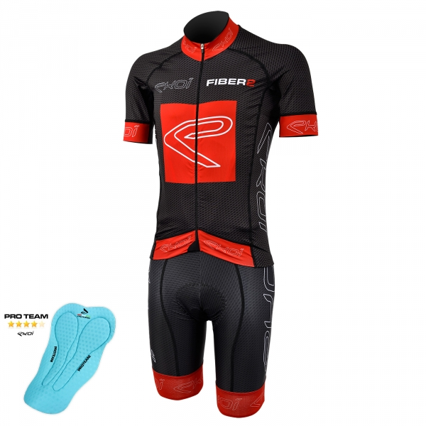 EKOI Carbon Fiber 2 red short sleeve jersey and bib short with Proteam pad bundle