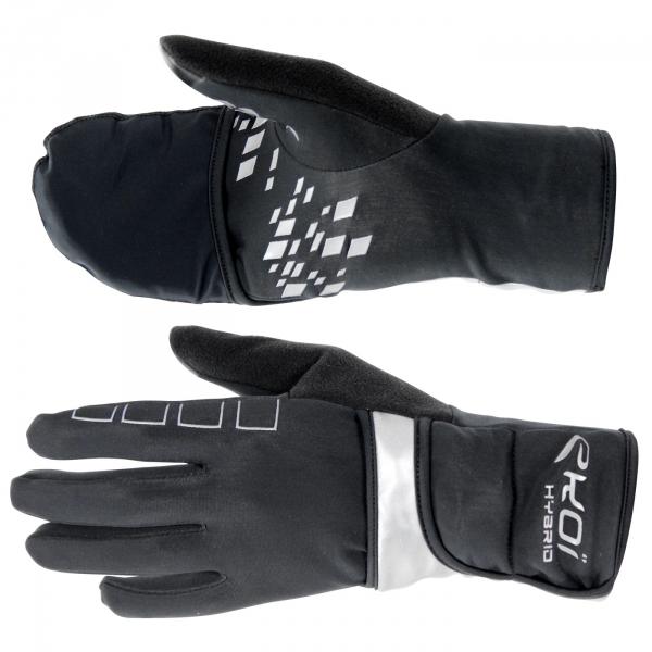 EKOI HYBRID TACTIL Black winter cycling gloves