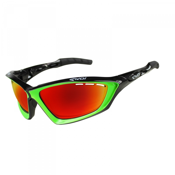 EKOI Fit First limited edition black & green sunglasses Revo red lens