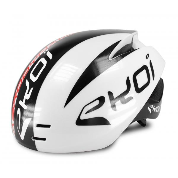 EKOI AERODYNAMIC white aero helmet with magnetic buckle