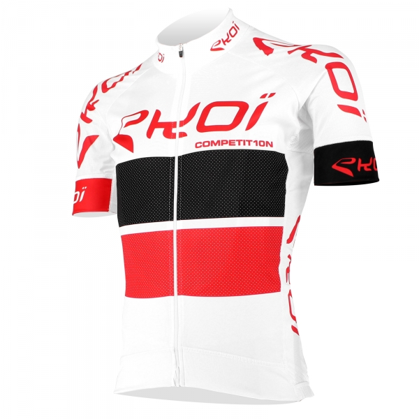 EKOI COMP10 White, Black & Red short sleeve jersey