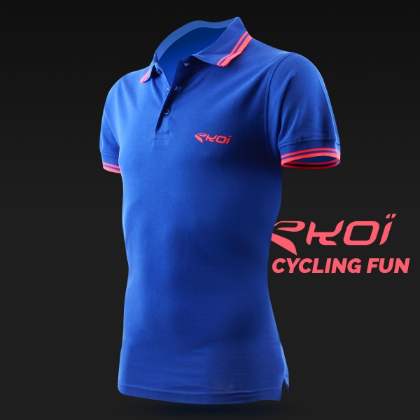 Männer Polo EKOI Cycling Fun Blau