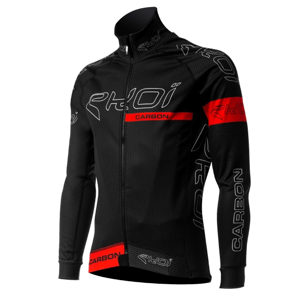 EKOI CARBON FIBER Black / Red thermal winter cycling jacket