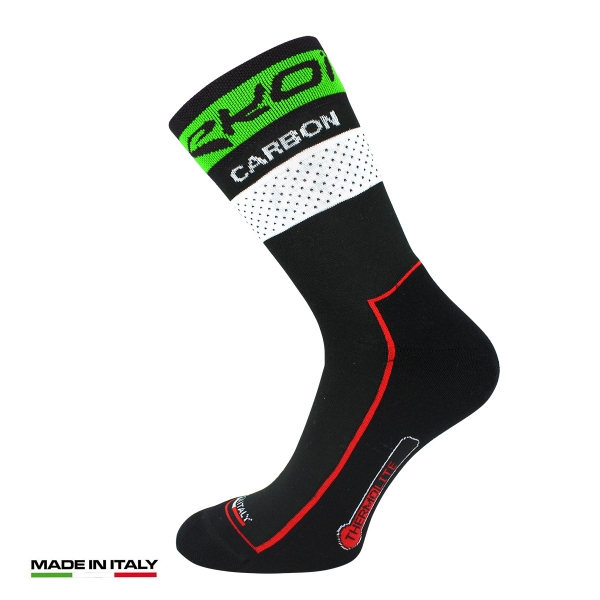 EKOI COMP10 Carbon Thermolite Black / Green fluo winter cycling socks