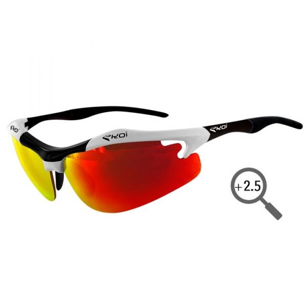 Czarno-białe okulary Diablo Evo EKOI LTD z czerwonymi szkłami Revo Loupe