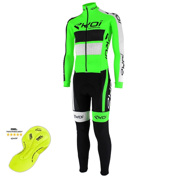 EKOI Fluo Green Comp10 winter aero skin suit