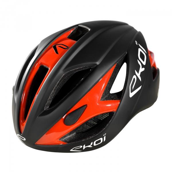Czarny matowy/neonowy pomarańczowy kask EKOI AR13