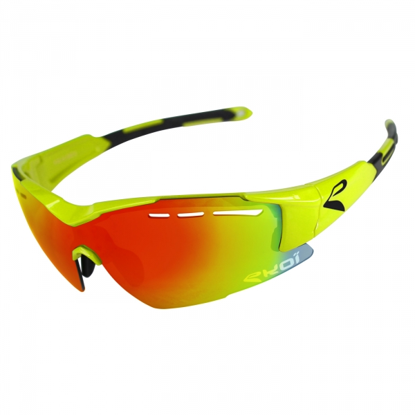 EKOI F15 Yellow fluo sunglasses with Revo red lens