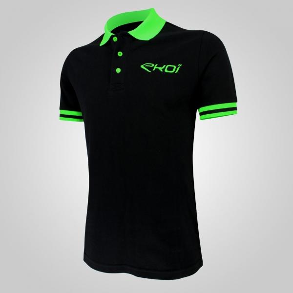 EKOI Club Black / Green fluo men's polo