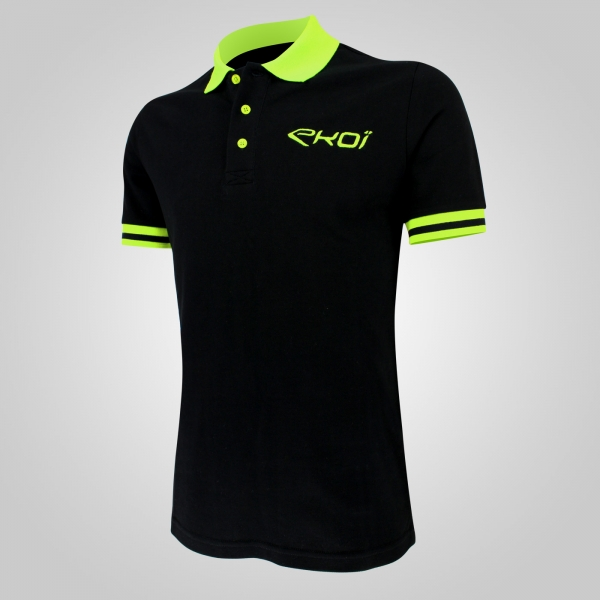 EKOI Club Black / Yellow fluo men's polo