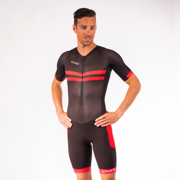 Combinaison triathlon EKOI Longue Distance Noir Rouge