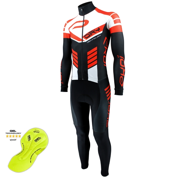EKOI DRY Black / Red / White skin suit with gel pad