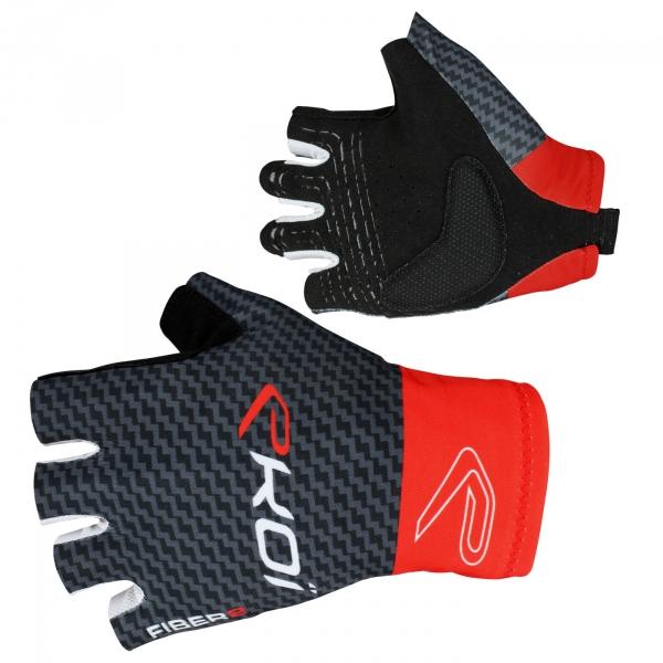 EKOI Carbon Fiber 2 Red fingerless summer cycling gloves