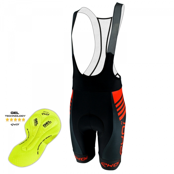 EKOI DRY Primavera Black / Red bib short with gel insert