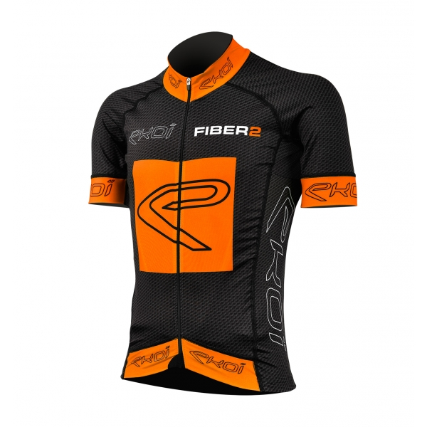 EKOI Carbon Fiber 2 Orange Fluo short sleeve jersey
