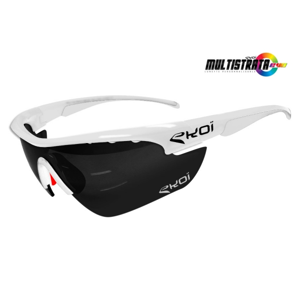 EKOI Limited edition Multistrata XL white sunglasses with mirror lens