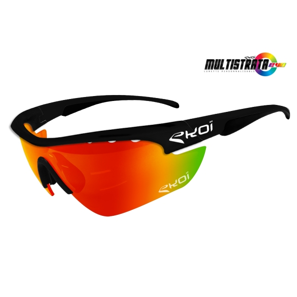 EKOI Limited edition Multistrata XL matt black sunglasses with Revo red lens