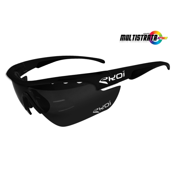 EKOI Limited edition Multistrata XL matt black sunglasses with mirror lens
