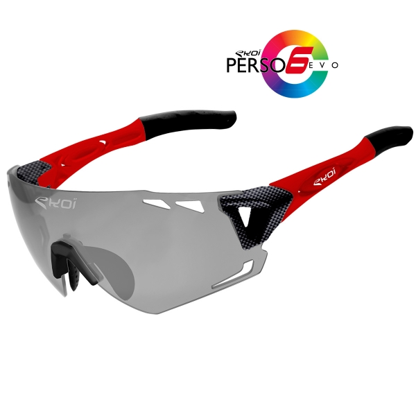 EKOI Persoevo6 limited edition carbon red sunglasses with cat 1-2 photochromic lens