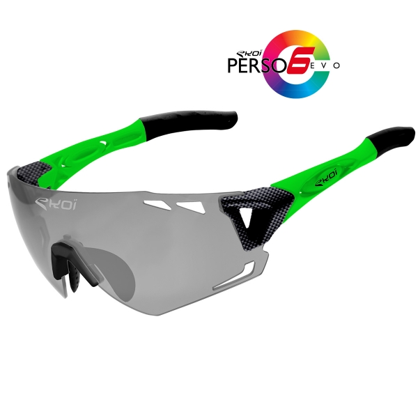 EKOI Persoevo6 limited edition carbon green sunglasses with cat 1-2 photochromic lens